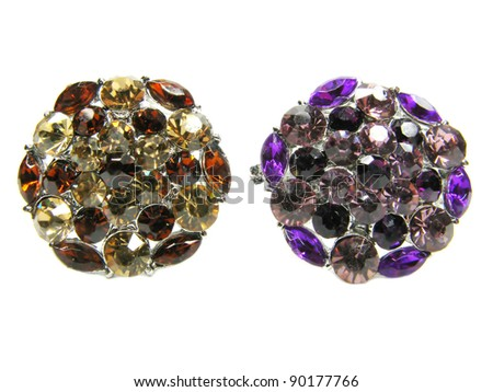 precious jewellery brooches isolated on white background - stock photo