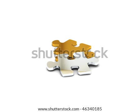 Precious puzzle. Gold and silver parts isolated on white background. High quality 3d render. - stock photo