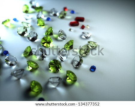 precious stones on a gray background - stock photo