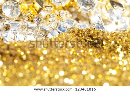 Precious treasure background. Gems and Gold - stock photo