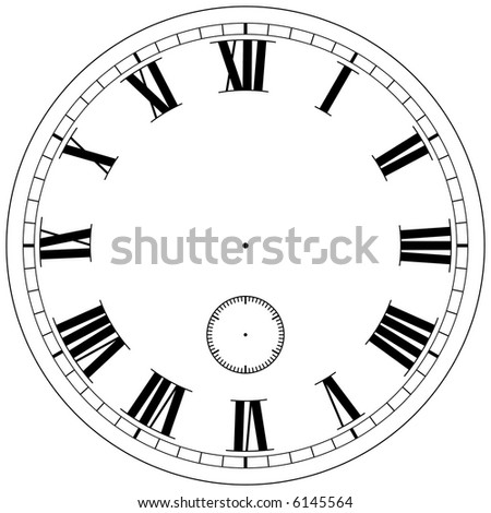 Precision clock face template isolated on white - stock photo