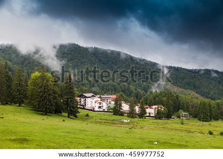 PREDEAL, ROMANIA - MAY 30, 2016: Mountain resort in romanian Carpathian mountain - stock photo