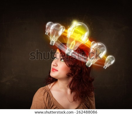 Preety woman with light bulbs circleing around her head