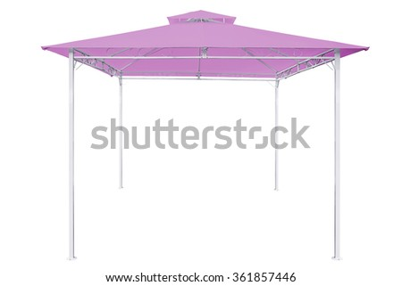 Prefabricated Tents, Pink rain tent on white background,Work with clipping path. - stock photo