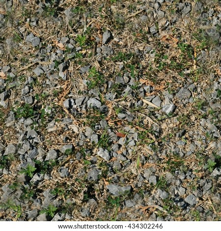Prefect square seamless texture - gravel and grass mix. Ideal for a tiled background or a 3D model.