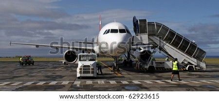 Preflight-check of a small Airliner - stock photo