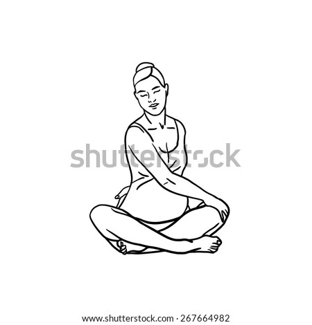 Pregnancy yoga. Exercise, relaxation, meditation for pregnant women. Black and white outline illustration. - stock photo