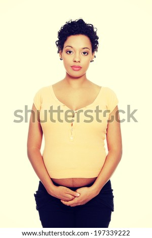 Pregnant african american woman portrait. - stock photo