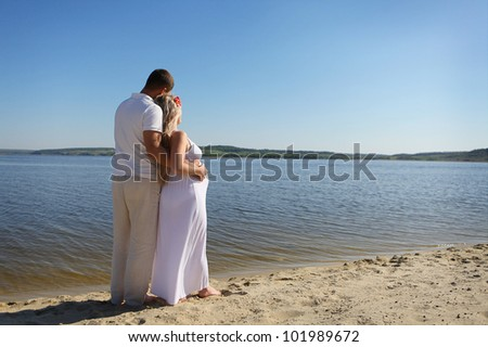 Pregnant family - stock photo
