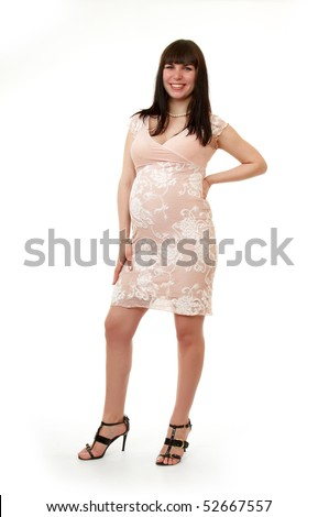 pregnant girl, isolated on white  background