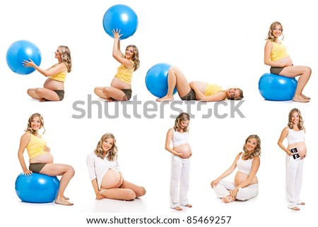 Pregnant gymnastic collage isolated on white - stock photo