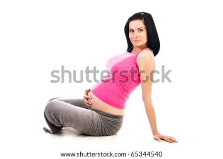 pregnant isolated on white background - stock photo