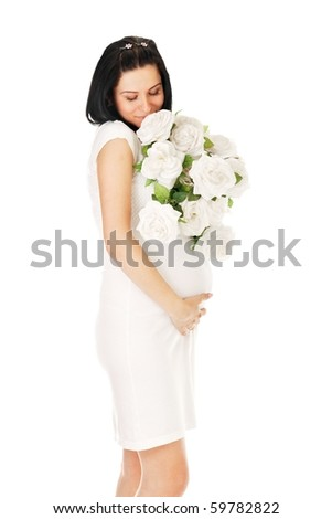 pregnant with roses on white - stock photo