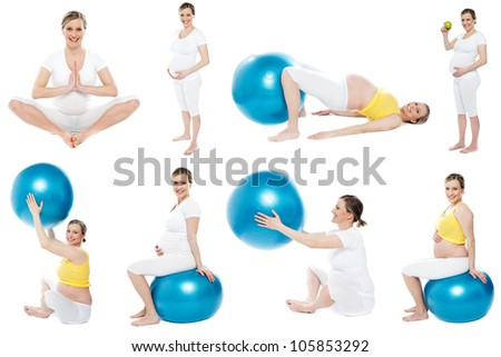 Pregnant woman collage. Exercising and doing yoga - stock photo