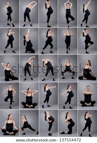 Pregnant woman doing gymnastic on grey background. photo set of pregnant woman. - stock photo