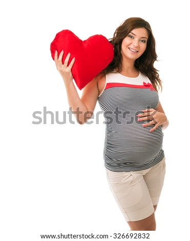 Pregnant woman in a dress on a white background - stock photo