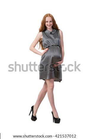 Pregnant woman isolated on the white - stock photo