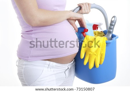Pregnant woman nesting - stock photo