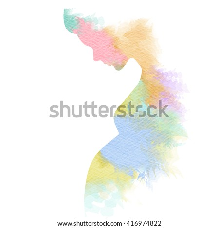 Pregnant woman silhouette plus abstract water color painted. Digital art painting.