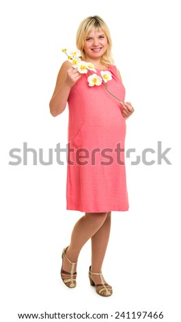 pregnant woman with flowers in red dress isolated