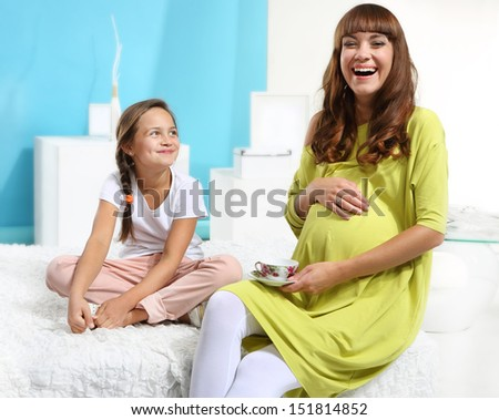 Pregnant Woman Her Daughter Stock Photo 151815335 ...