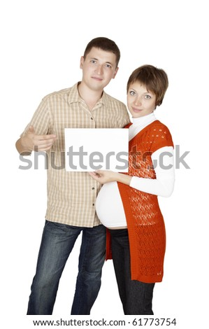 Pregnant woman with placard isolated on white
