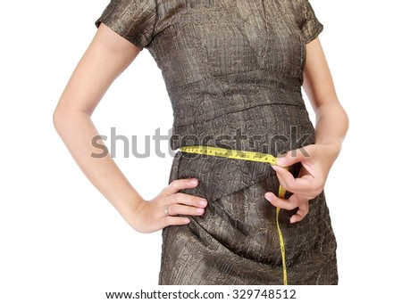Pregnant women with a meter in his stomach, isolated on white background - stock photo