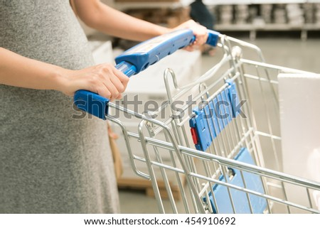 Pregnant women with shopping cart - stock photo