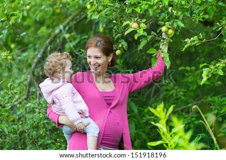 Pregnant young mother and her beautiful baby daughter picking apples in a fruit garden on a rainy autumn day