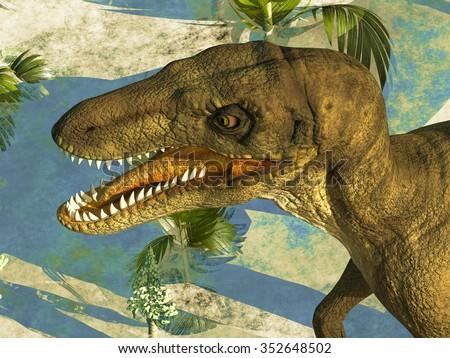Prehistoric landscape with big dinosaur - stock photo