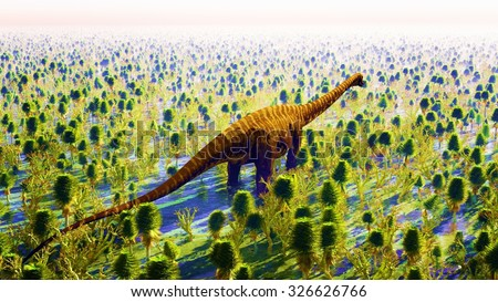 Prehistoric landscape with big diplodoc - stock photo