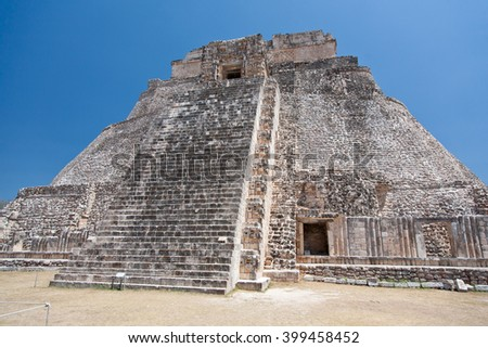 Prehistoric Mayan pyramids in Uxmal, Yucatan, Mexico - stock photo