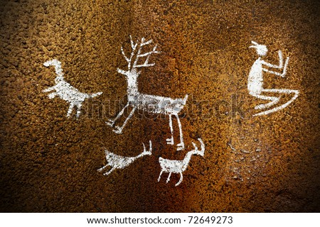 Prehistoric Paintings and drawings in a Cave. - stock photo