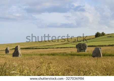 Prehistoric Standing Stones at Avebury,  a World Heritage site and visitor attraction in Wiltshire, UK. - stock photo
