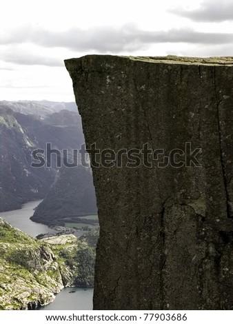 Preikestolen  pulpit-rock view in Norway fjord landscape - stock photo