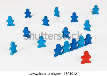 Prejudice or Inequality - Social and Business concepts illustrated with colorful wooden people. - stock photo