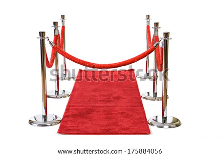 Premiere: Red Carpet and Stanchions Roped Off - stock photo