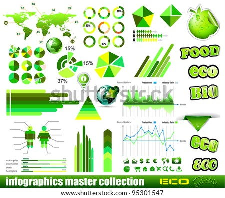Premium Eco Green infographics master collection: graphs, histograms, arrows, chart, 3D globe, icons and a lot of related design elements. - stock photo