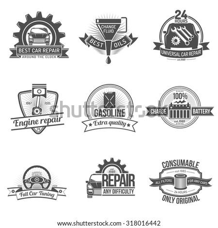 Premium quality auto service car repair industry emblem set isolated  illustration - stock photo
