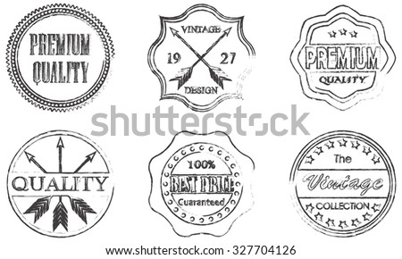 Premium quality, best price, vintage design badges and labels set on white background.  - stock photo