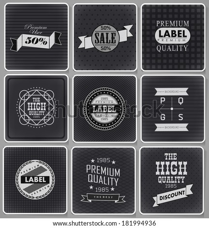 Premium Quality, Guarantee and sale Labels  and typography design drawing with chalk on blackboard