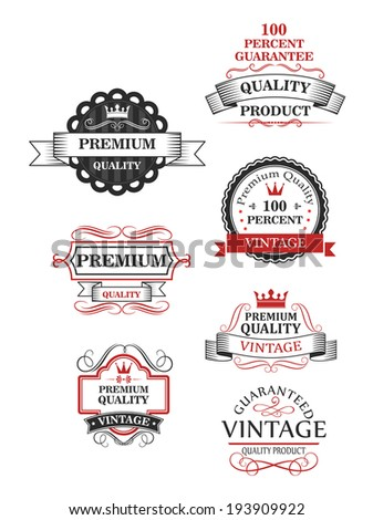 Premium quality label collection of seven different designs guaranteeing the best or 100 percent vintage quality. Vector version also available in gallery - stock photo