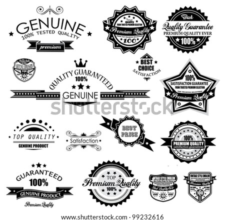 Premium Quality Labels - Collection of retro bi-colours vintage labels with several slogans: Best Choice, Premium Quality, Top Choice and so on. - stock photo