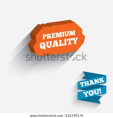 Premium quality sign icon. Special offer symbol. White icon on orange 3D piece of wall. Carved in stone with long flat shadow.
