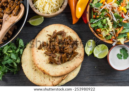 preparation authentic mexican tacos, top view - stock photo