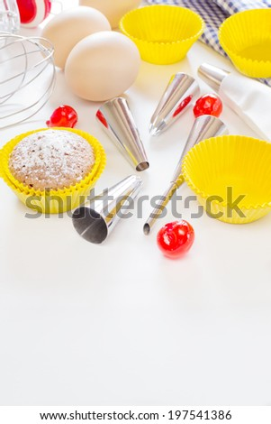 Preparation  for decoration of cupcakes or muffins - stock photo
