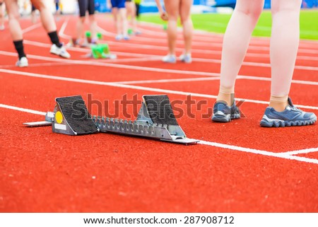 preparation for the race,sports background - stock photo