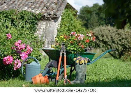preparation gardening in the garden - stock photo