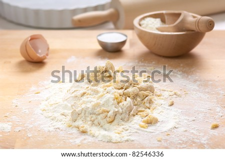 preparation of a sweet pie - stock photo