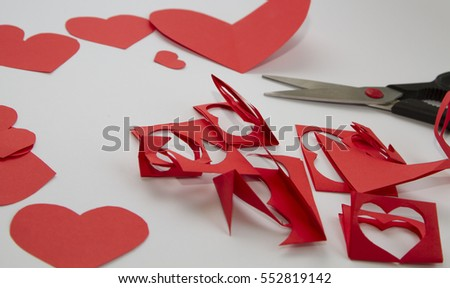 Preparation greeting cards day red paper stock photo royalty free preparation of greeting cards for valentines day from red paper hearts and m4hsunfo